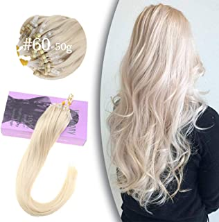 VeSunny 18inch #60 Platinum Blonde Micro Loop Hair Extensions Remy Human Hair with Micro Beads Silky Straight Real Hair Loop Micro Ring Hair Extensions 1G 50 Strands