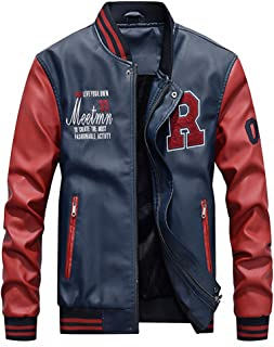 Lavnis Men's Faux Leather Jacket Casual Baseball Stand Collar Slim Fit Coat
