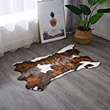 Faux Cowhide Cow Print Rug for Western Decoration Faux Calfskin Calf Hide Cow Skin Rug Leather Area Rug 29x43 inches