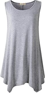LARACE Lanmo Women Plus Size Solid Basic Flowy Tank Tops Summer Sleeveless Tunic (S, Light Gray)