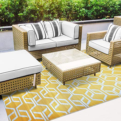 iCustomRug Oudoor Rug Collection - Geometric Yellow and White 7'10'X11'6' Reversible Picnic and Beach Area Rug, Perfect for Patio, Camping, Sunroom, and Any Outdoor Space