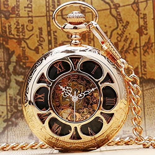 JTWMY Reloj de Bolsillo mecánico de Oro Rosa, Cuerda Manual para Mujeres, Hombres, Regalos, Colgante de Acero con Cadena por defecto