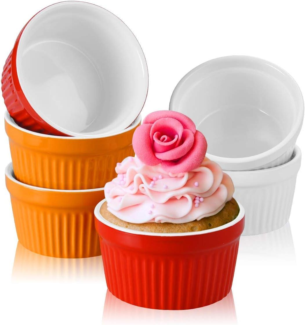Juego de 6 cuencos de porcelana para suflé, clásicos, de cerámica, para horno, crema brulee, 200 ml, 3,5 pulgadas (colocar B en 6 unidades)