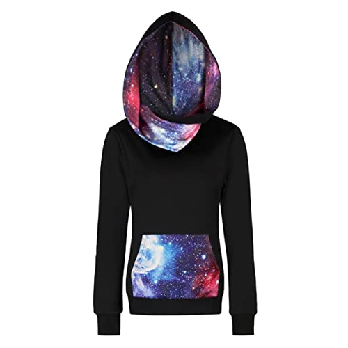 1ab09285db73 sanatty Women Fleece Hoodie Sweatshirts Pullover Heavyweight Black Galaxy  Hooded Shirts Pocket