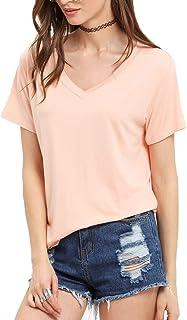 Floerns Women's V Neck Short Sleeve Casual T-Shirt