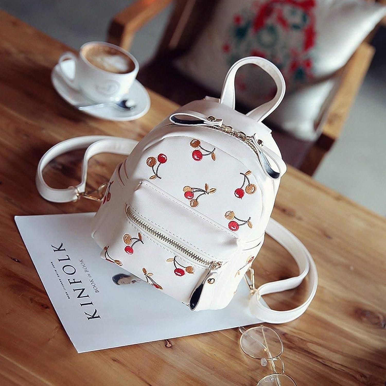 Eeayyygch Umhängetasche Mini Umhängetasche Kirsche Stickerei Lady Rucksack Street Casual Handtaschen (Farbe   Weiß, Größe   -) B07JX98ZBR