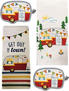 DHE 4 Piece Happy Camper Kitchen Towel Bundle - 1 Tea Towel, 1 Terry Towel and 2 Potholders
