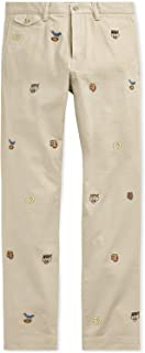 Polo Men's Stretch Slim-Fit Varsity Embroidered Cotton Blend Chino Pants
