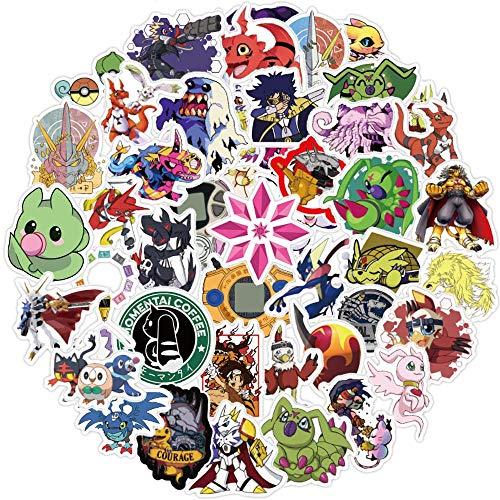 50 Stück Aufkleber für Digimon Abenteuer, niedliche digitale Monster-Aufkleber für Laptop, Wasserflasche, Skateboard, Gepäck, Computer, Auto, Telefon, Vinyl, wasserdichte Aufkleber