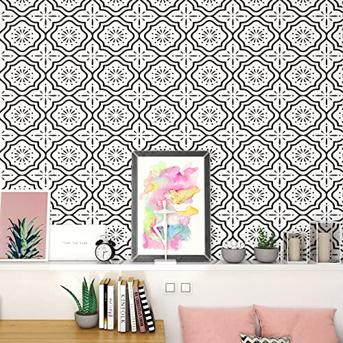 Peel and Stick Wallpaper Boho Contact Paper for Cabinets Black and White...