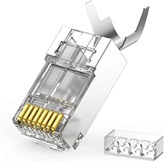 UGREEN Cat6a Connector, 10 pcs Cat6A Shielded Crimp Connector RJ45 8P8C STP Ethernet Network Cable Plug Crimp Gold Plated