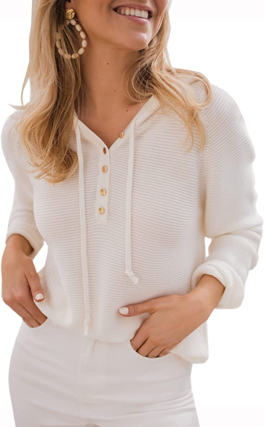 Angashion Women's Pullover Sweater Hoodies Casual Button Up V Neck Knitted Long Sleeve Hooded Sweaters Henley Tops