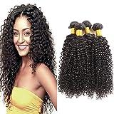 Huarisi 4 paquets Brésilien cheveux Jerry bouclé tissage 7a Brésilien cheveux bouclé virgin Hair extensions double trame...