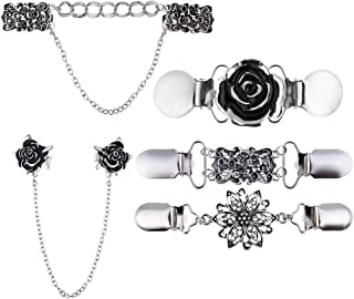 Prettyia Retro Shawl Clips with Chain - Pack of 5 - Cardigan Shrug Sweater Clips Clasp, Rhinestones Collar Pins Brooches