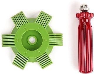 Pudincoco Universal Plastic Car A/C Radiador Condensador Evaporador Aleta Enderezadora Bobina para Herramienta de Sistema de enfriamiento automático (Verde y Rojo)