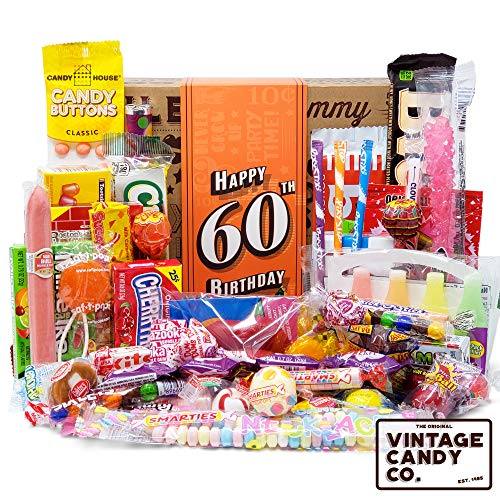 VINTAGE CANDY CO. 60TH BIRTHDAY RETRO CANDY GIFT BOX - 1960 Decade Nostalgic Candies - Fun Gag Gift Basket For Milestone SIXTIETH Birthday - PERFECT For Man Or Woman Turning 60 Years Old