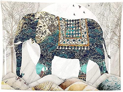 Elefante Bosque Luna Tapiz Hippie Boho Indie Estético Elefante Colgante de pared Hippie Dormitorio Decoración de la pared Tapiz Decoración de la habitación 200x230cm