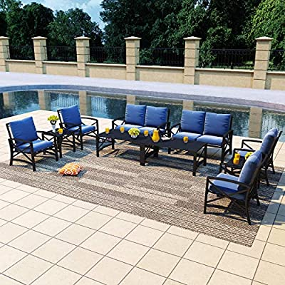 PatioFestival Outdoor Furniture Set Patio Conversation Sets Modern Metal Patio Sofas with Loveseat, Chairs and Coffee Table for Yard, Pool, Garden, Porch (10 Pcs, Blue)