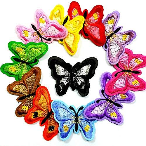Soleebee Gemischt zufällig Patches Zubehör Aufbuegler Bügeleisen-auf oder Nähen-auf Aufnäher Applikation Applique Flicken Patches (11 Stück Schmetterling)