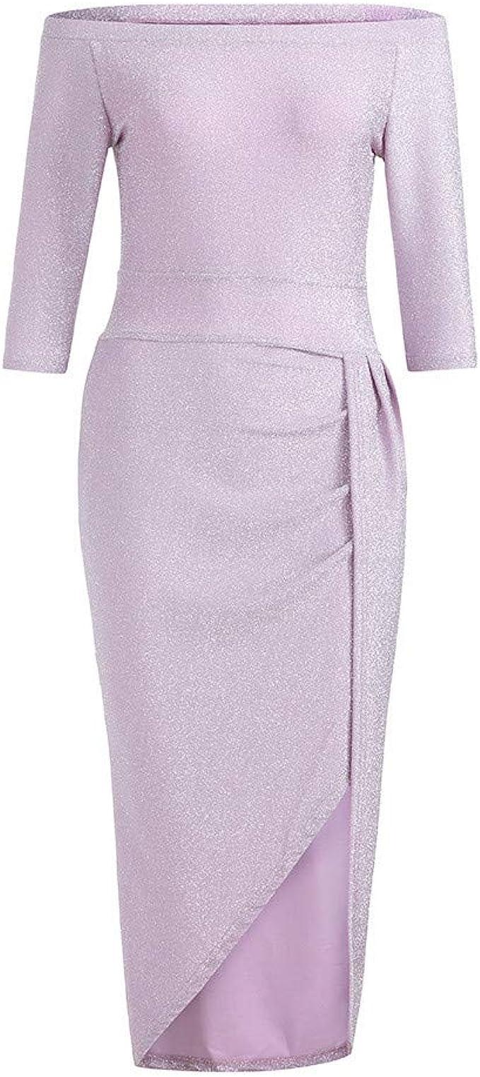 Vemow Damen Kleid Heisser Ballkleid Elegante Damen Schulterfrei Langarm Hochschlitz Bodycon Kleider Cocktailkleid Amazon De Bekleidung