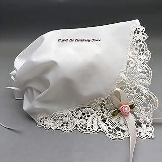 French Guipure Lace Keepsake Christening Handkerchief Bonnet