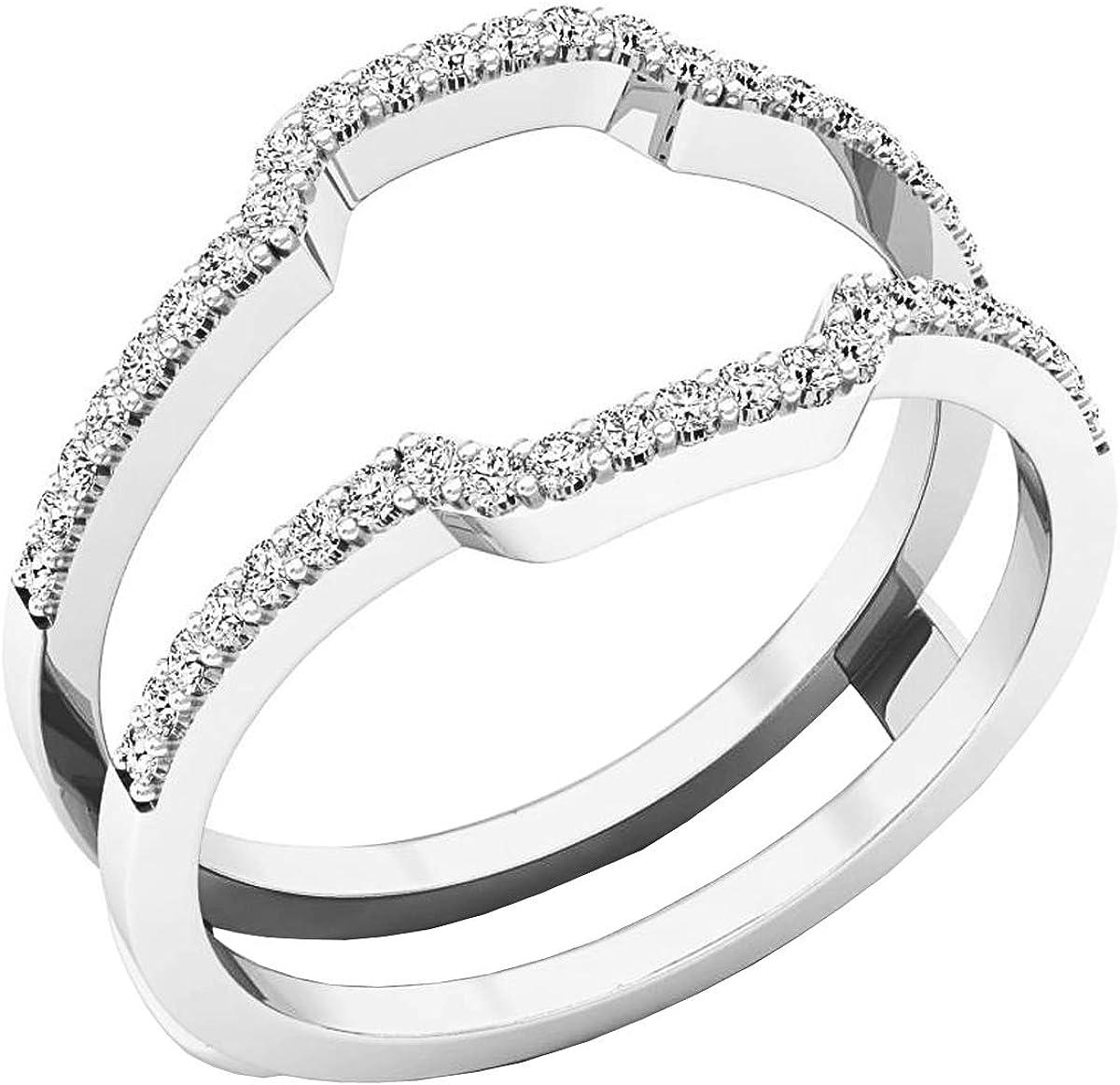 Dazzlingrock Collection Diamond Wedding Band Enhancer Guard Ring from 1/4 Carat to 1 Carat White Diamond Ring in 14K White Gold