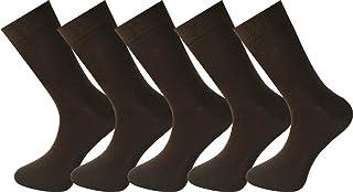Mysocks, para hombres y mujeres Paquete de 5 pares de calcetines de color liso peinados de algodón marrón