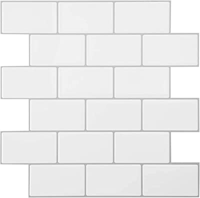 Amazon Com Peel And Stick Tiles Less Sticky Extra Adhesive Is Needed For Painted Walls 10 Sheets 12x12 Self Adhesive Removable Kitchen Backsplash 3d Tiles Subway Mono White Home Kitchen