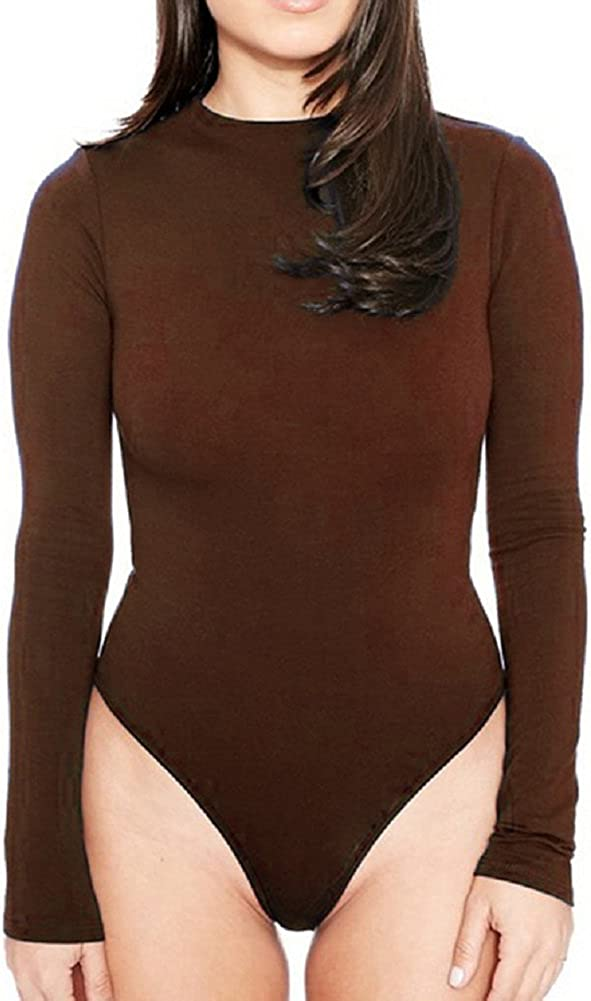 Sorrica Women's Long Sleeve Stretch Bodycon Bodysuits Leotard Top Blouse