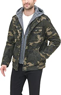Men's Washed Cotton Hooded Military Jacket (Regular and...