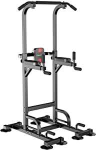 nimto Power Tower Workout Dip Station for Home Gym Adjustable Multi Pull Up Bar Strength Training Fitness Equipment & 440LBS