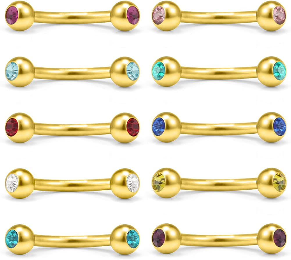1.2 x 10 Blue Anodized Eyebrow Curved Bar Ring w//Two Dices Piercing Jewel 3//8 x 3 mm