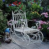 DJLOOKK Bancos de jardín Retro al Aire Libre, Mecedora Antigua de Hierro Forjado, sillas de jardín Resistentes de 440 Libras (200 kg), sillones de Patio, Tumbona, Silla para Tomar el Sol,Blanco