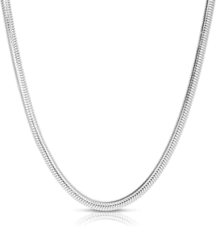 Sleek & Flexible, Authentic Solid Sterling Silver Flexible Snake Chain Necklace 2MM - 5MM, Can Be Worn With a Charm, No Ha...