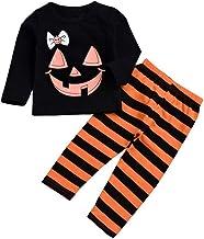 BaZhaHei Halloween Disfraz (1-4 T) Top de Manga Larga con Estampado de mueca de Halloween para niños Pantalones a Rayas Conjunto de Dos Piezas Top Ropa Pantalones Largos a Rayas Conjunto Traje