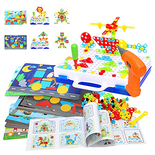Lekebaby Montessori Plug-In Game with Drill, 263 Pieces, DIY Construction Toy, Educational Creative Set for Children, Boys and Girls