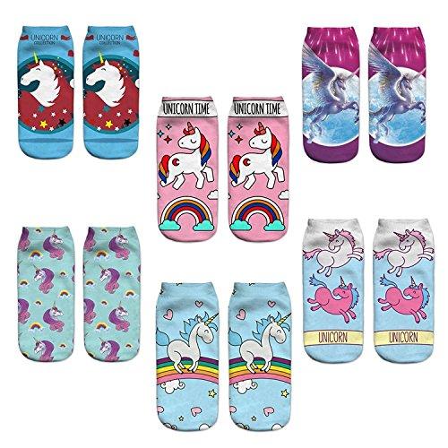 Z-Chen Pack de 6 pares de calcetines Tobilleros para Mujer Dibujo de Unicornio