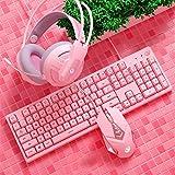ピンクのキーボードの女の子かわいいメカニカルキーボード+マウス+ヘッドフォンヘッドセットゲームタイピング笑有線ゲーム子供女の子学生ギフト