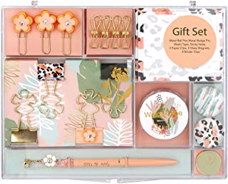 MultiBey Stationary Set Leopard Flower Style Office Stationery Gift Kit Desktop Supplies Set Hand Account Making Tools (Pink, 8.5in6.9in1in)