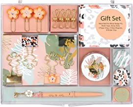MultiBey Stationary Set Leopard Flower Style Office Stationery Gift Kit Desktop Supplies Set Hand Account Making Tools