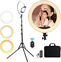 """KEAYEO 14"""" LED Selfie Ring Light with Tripod Stand and Phone Holder for Live Stream, Makeup, Camera Beauty LightRing Tripod for YouTube Video, Photography Compatible for iPhone Android"""