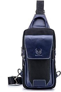 FOONEE Vintage Leather Sling Bag for Men, Water Resistant Anti Theft Leather Casual Crossbody Shoulder Backpack Travel Hiking Vintage Chest Bag Daypacks