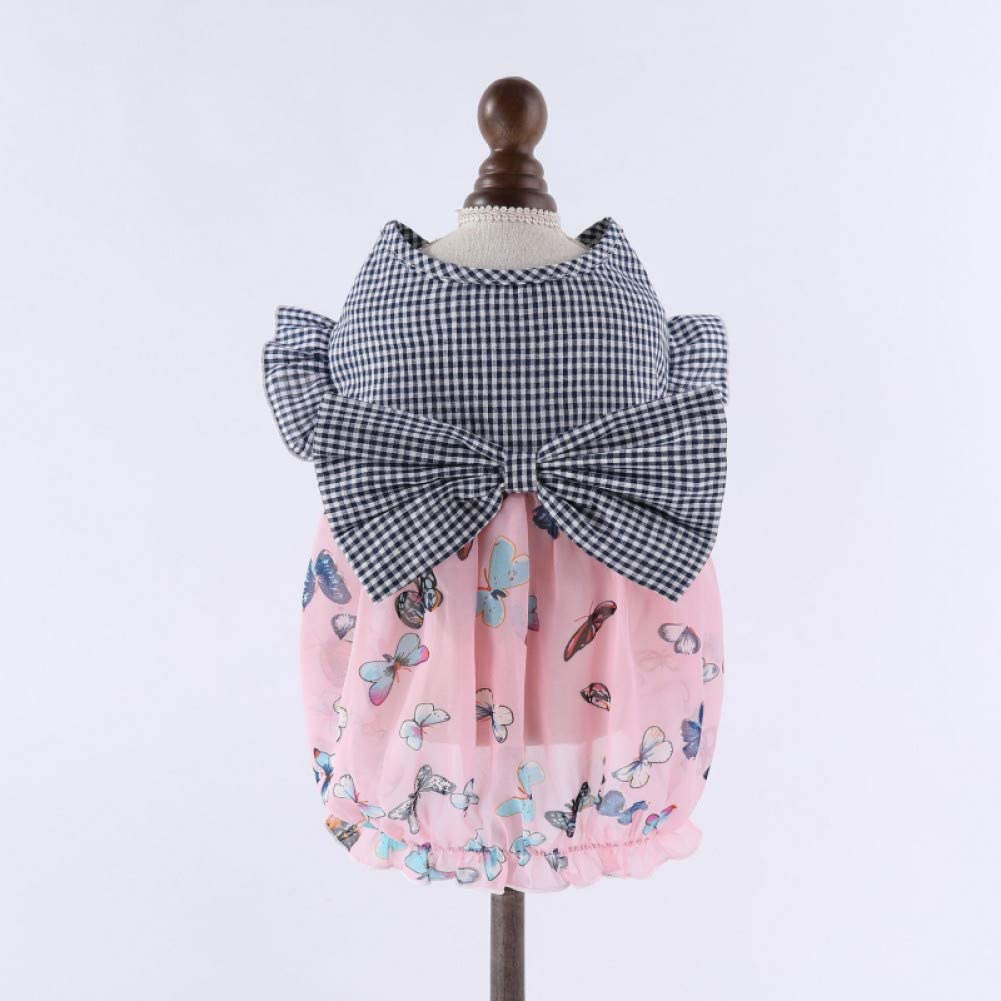 RQJOPE Pet Indefinitely Clothes Dog Summer supreme Dress Butterfly B Cute