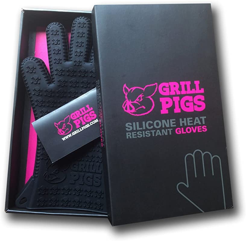 Grill Pigs BBQ Grilling Gloves Silicone Rubber Heat Resistant Cooking Mitts