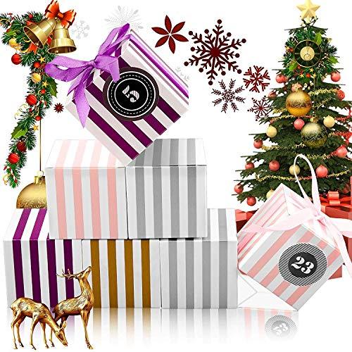 JOYUE Calendrier de l'Avent 2020, Boites Cadeau de Noël avec Numérique Autocollants, 24 Noel Calendrier Sacs, Boites pour DIY Calendrier de l'Avent à Remplir Soi Meme, Petite Boite d'emballage