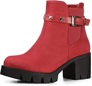 Women's Lug Sole Chunky Heels Ankle Combat Boots