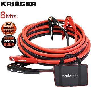 Cables de Arranque Krieger, 8 Metros, Pinzas de 800Amp, 50mm², Ideal para Bateria de Coche, Motocicletas, Camiones Gasolina/Diesel – 8M Permite Arrancar Baterias desde la Parte Posterior del Automovil