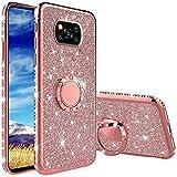 Compatibile con Cover Xiaomi Poco X3 NFC, Glitter Lusso Strass Diamante Bling Diamanti Custodia con 360 Gradi Rotante Supporto Ring Kickstand Protezione Morbido Silicone TPU - Oro Rosa
