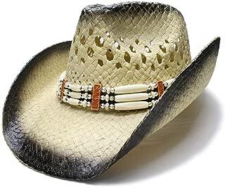 HaiNing Zheng Fashion Women's Men's Summer Sun Hat Straw Beach Wide Brim Cowboy Western Cowgirl Sun Hat Sombrero Cap