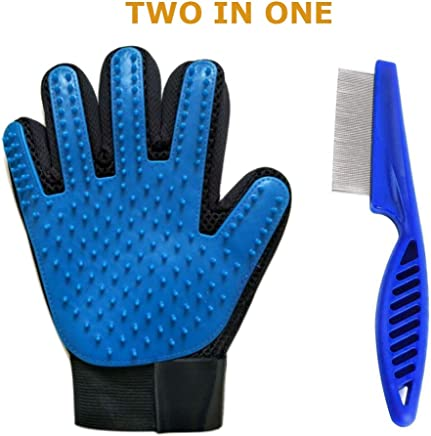 SUNRIX Pet Grooming Multicolored Gloves Bundled with Pets Flea Removal Comb/Pets Grooming Tool to